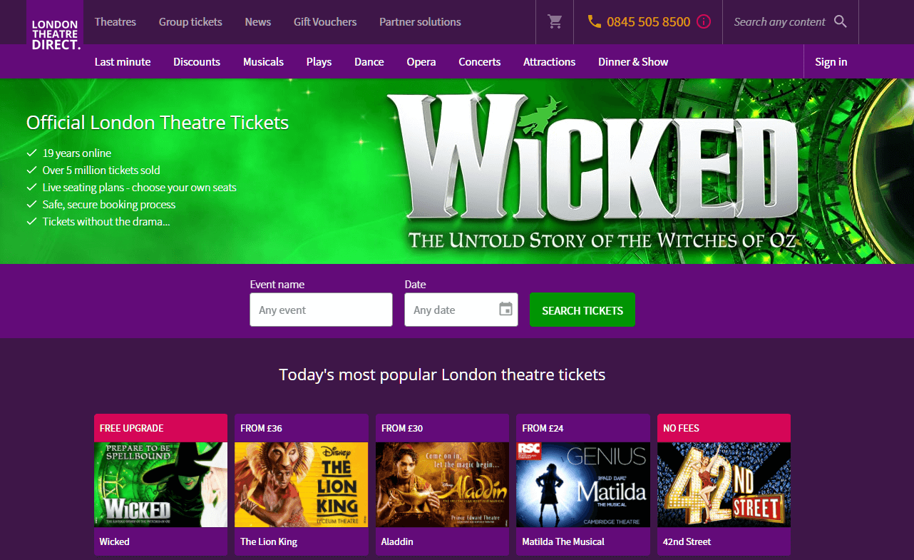 London Theatre Direct homepage screenshot