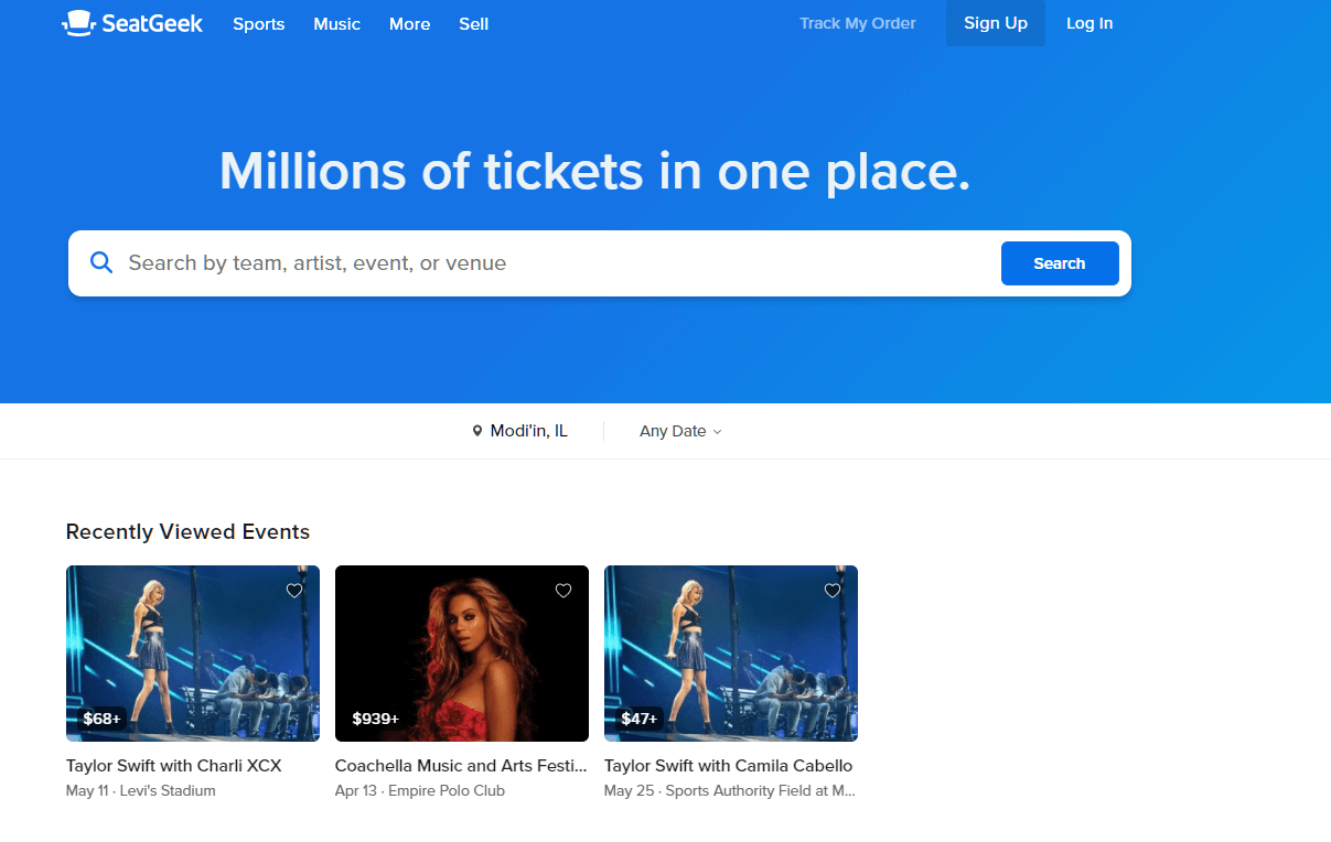 seatgeek homepage screenshot