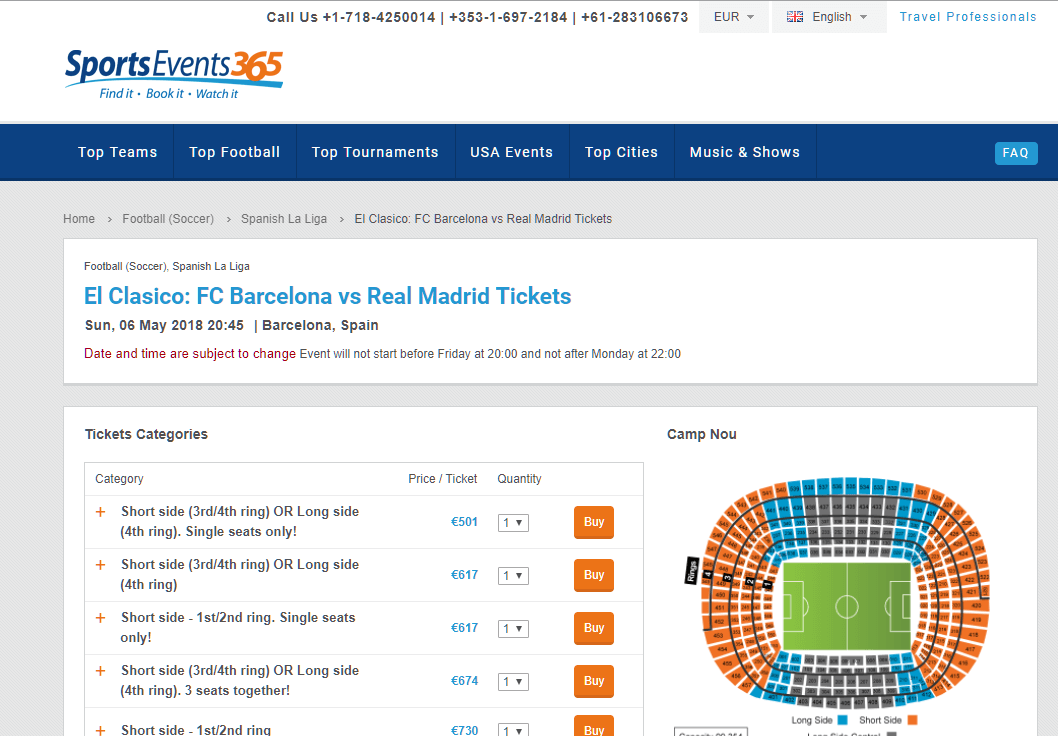 sportsevents365 ticket selection screenshot