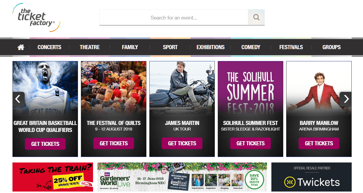 The Ticket Factory homepage