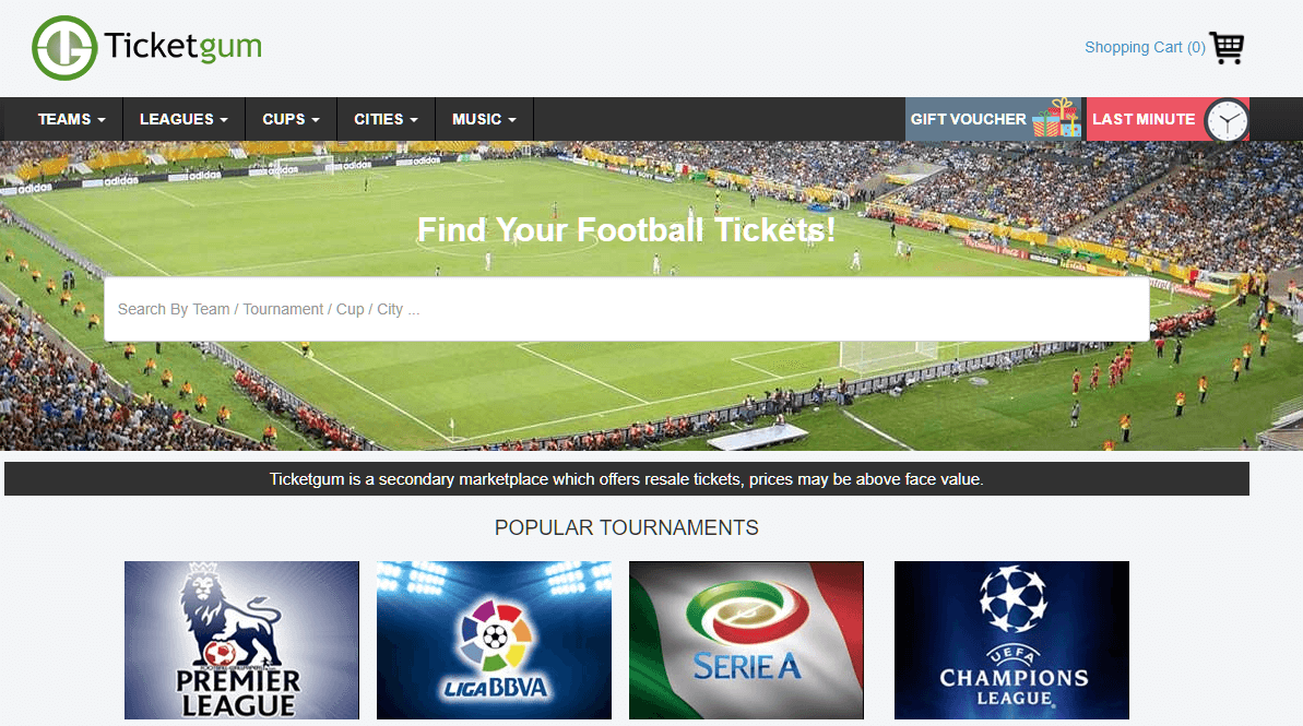 ticketgum homepage screenshot