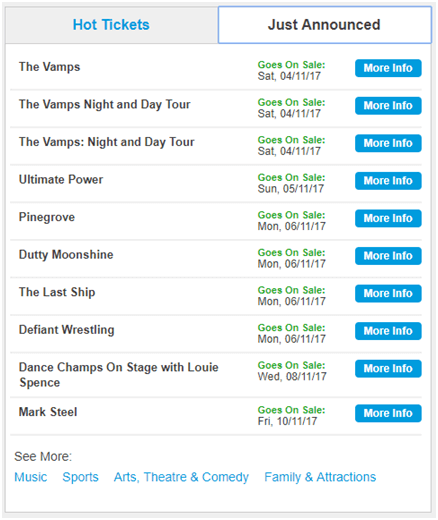 Ticketmaster Upcoming Concerts