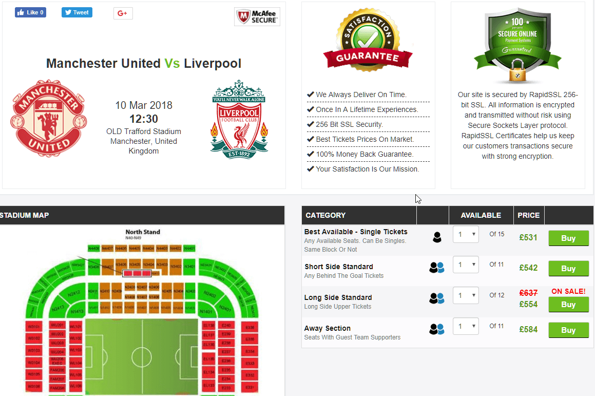 manchester united v liverpool match @ ticketgum
