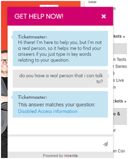 Ticketmaster live automated chat