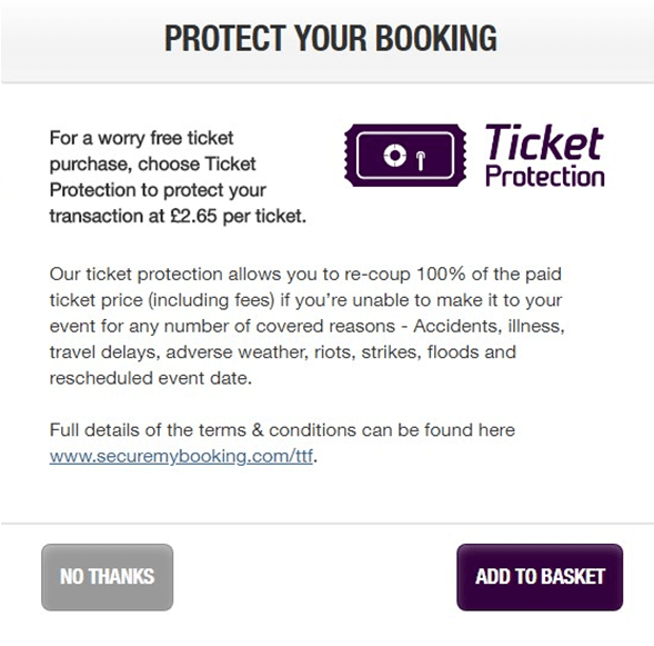 TheTicketFactory extra fees for booking protection