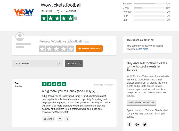 WoWTickets trustpilot online reviews