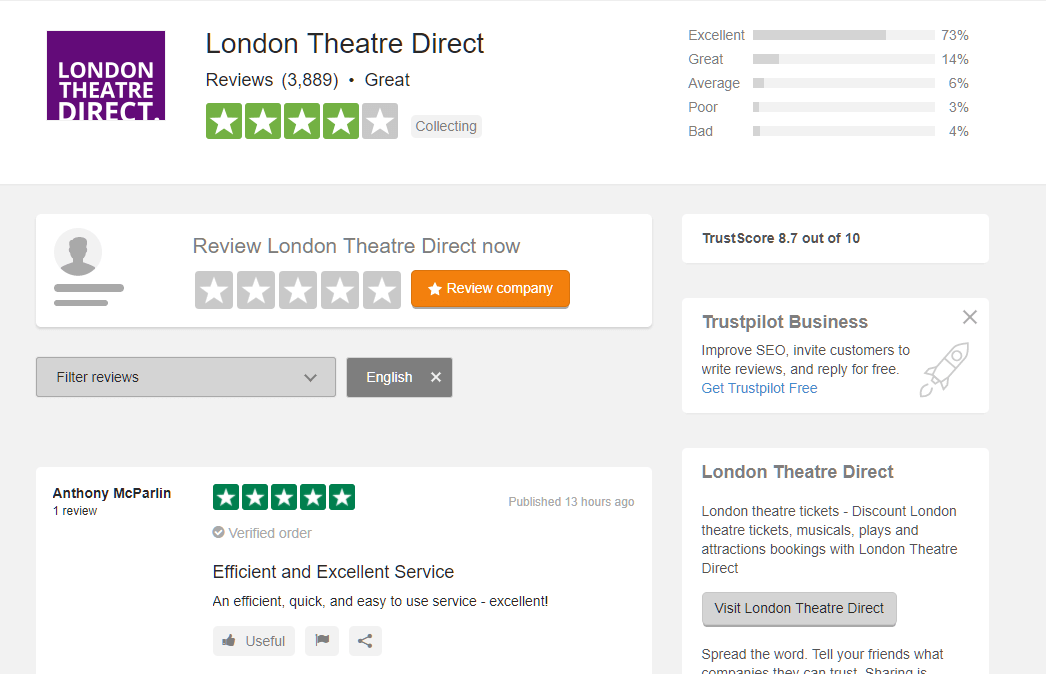 great trustpilot reviews