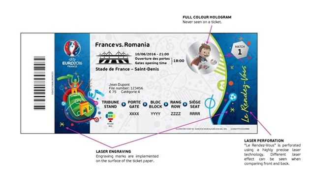 euro 2016 valid ticket with hologram