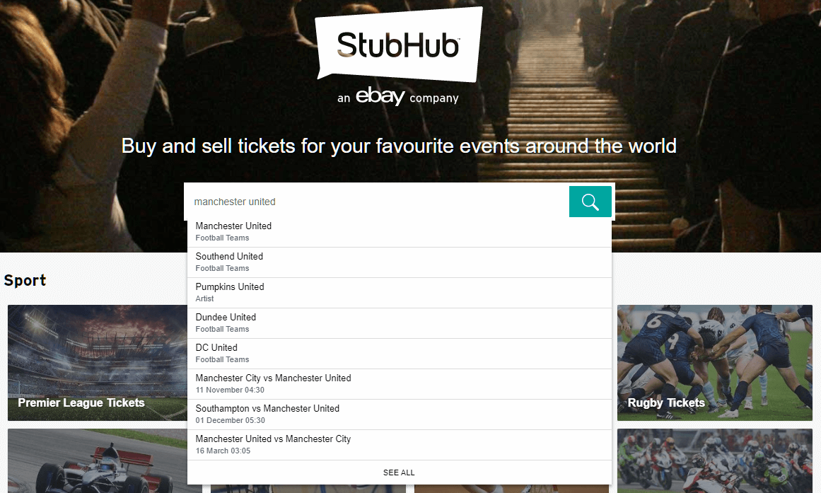 stubhub search screenshot