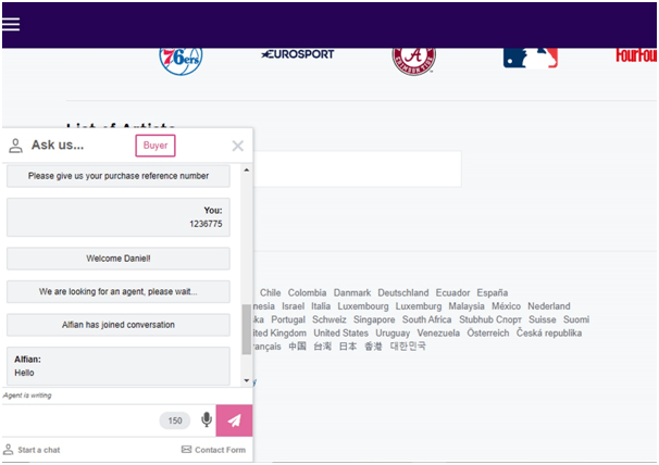 stubhub chat screenshot