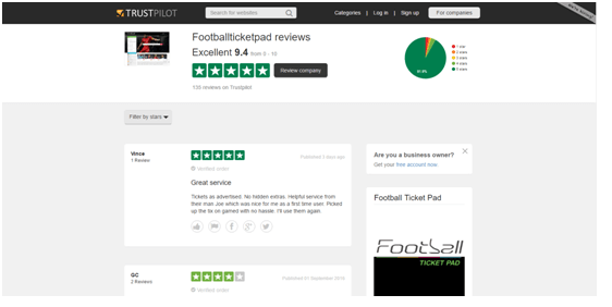 Football Ticket Pad Trustpilot Reviews Page