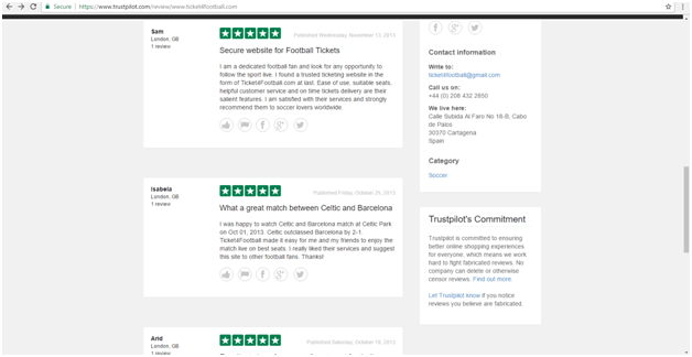 ticket4football trustpilot reviews page